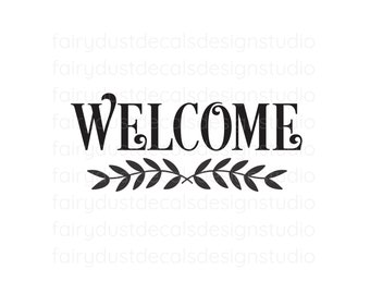 Welcome Decal, Front Door Vinyl Decal Sticker