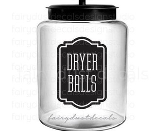 Laundry Dryer Balls Canister Decal, Organize Storage Label for Laundry, Washer and Dryer Decor, Farmhouse Laundry Room Decor, Dryer Balls