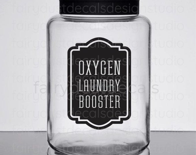 Laundry Decal, Oxygen Booster Canister Label, Farmhouse Laundry, glass jar label, oxygen powder booster sticker for home laundry decor