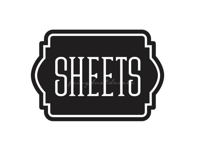 10% off sale Sheets Label, Vinyl Decal for Linen Closet Door, Home Organization, Sheets Sticker