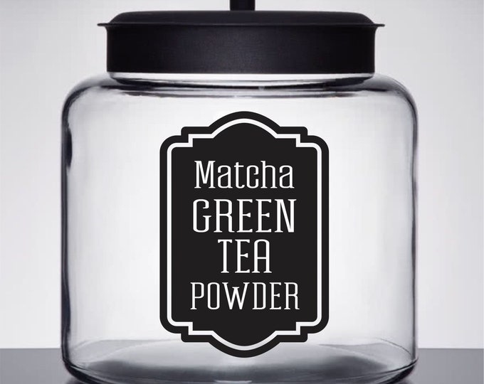 Green Tea Powder Canister Label, Matcha Tea Vinyl Decal, healthy drink label, glass container label, pantry kitchen home organization