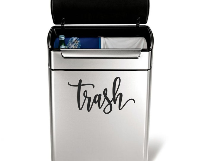 Trash Vinyl Decal in a handwritten script style letter, garbage can sticker, trash label