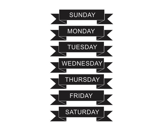 Days of the Week dry erase or chalkboard labels, weekly schedule, home organization, daily menu, ribbon style, command center decals