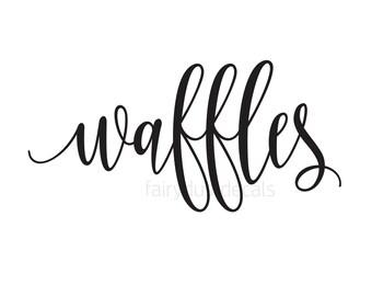 Waffles decal, waffle bar sign sticker, bridal shower bunch decor