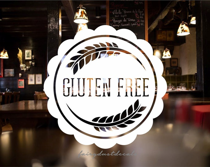 Store Window Decal, Gluten Free, Bakery Display Sticker, No Wheat Products, Gluten Free Vinyl Decal, Gluten Free Option Business Window Sign