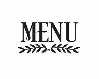 Menu Sticker Decal for chalkboard sign, menu vinyl sticker, wedding menu decal for sign
