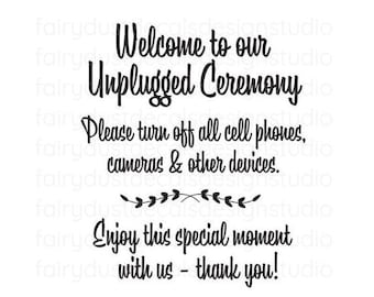 Unplugged Ceremony Wedding Sign Decal, vinyl decal no cell phones