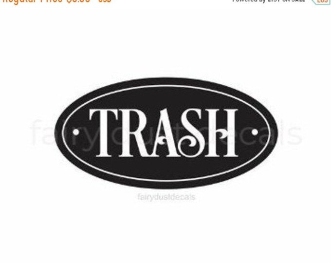 10% off sale Trash Decal, recycle and trash stickers, Trash Barrel Label, Home and Garage Organization, Trash Vinyl Decal