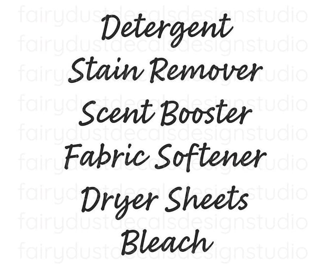 Laundry Room Decals, organized home laundry, detergent dryer sheets fabric softener bleach vinyl decals, farmhouse laundry room decor