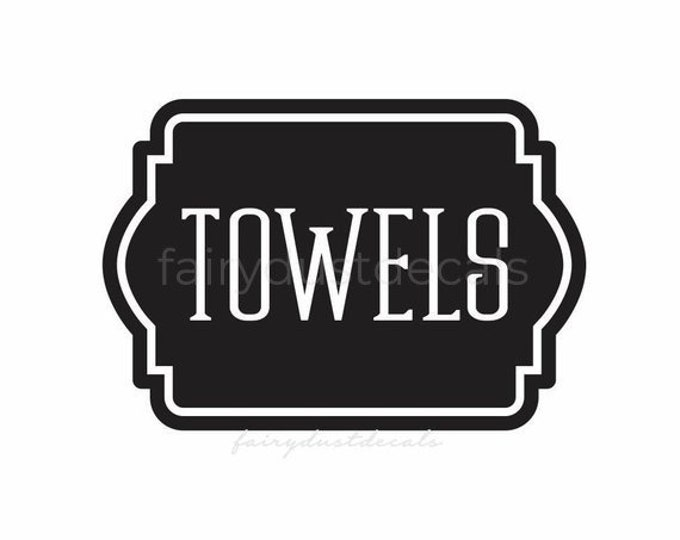 Towels Decal, Linen Closet Bathroom Door Decal, linens and towels, bathroom and laundry organization, vinyl labels for home decor