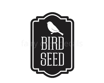 10% off sale Bird Seed Container Decal, Sticker for Bird Seed Canister