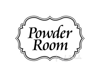 Powder Room Decal, bathroom door sign sticker, powder room vinyl decal