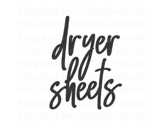 Dryer Sheets Laundry Decal, Laundry Room Container Label