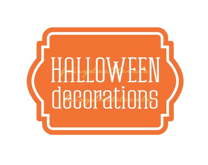 Halloween Decorations Storage Label, Plastic Tote Vinyl Decal, Halloween Decorations Sticker for Storage Container
