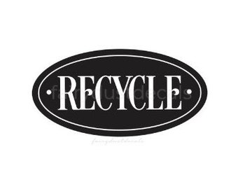 Recycle Sticker for Trash Bin, vinyl decal