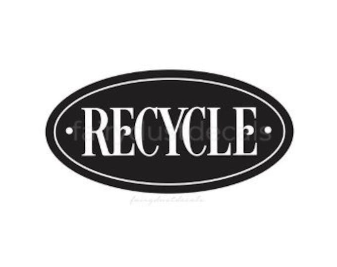 Recycle Sticker for Trash Bin, Vinyl Decal, Recycling Label