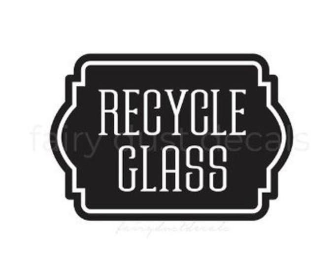 10% off sale Recycle Glass Bottles Sticker, Recycling Bin Label, Vinyl Decal for Trash Barrel