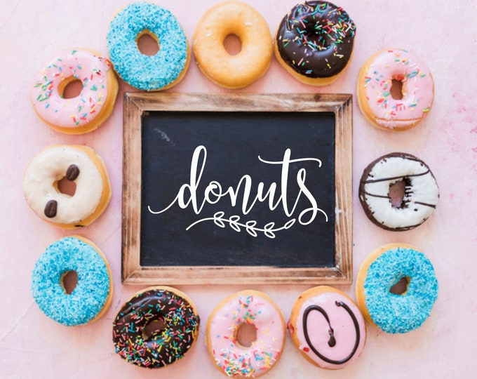 Featured listing image: Donuts decal, doughnuts vinyl sticker, sign decal for donut peg board, wedding dessert table decor