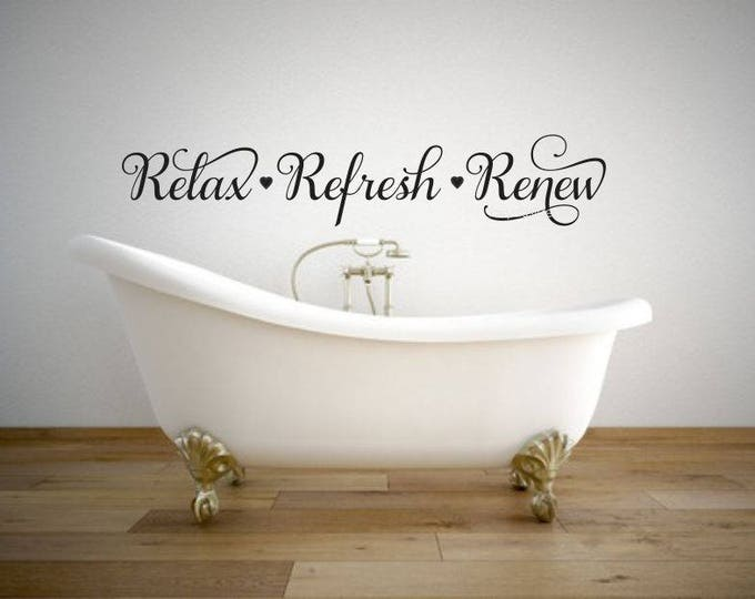Relax Refresh Renew Decal Bathroom Wall Sticker Spa Decor Vinyl Letters Home Elegant Fancy Script Heart Decals Hair Salon Decals Facials Spa