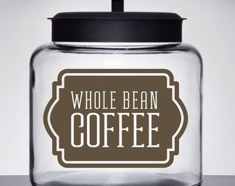 10% off sale Coffee Canister Label, Whole Bean Coffee Vinyl Decal