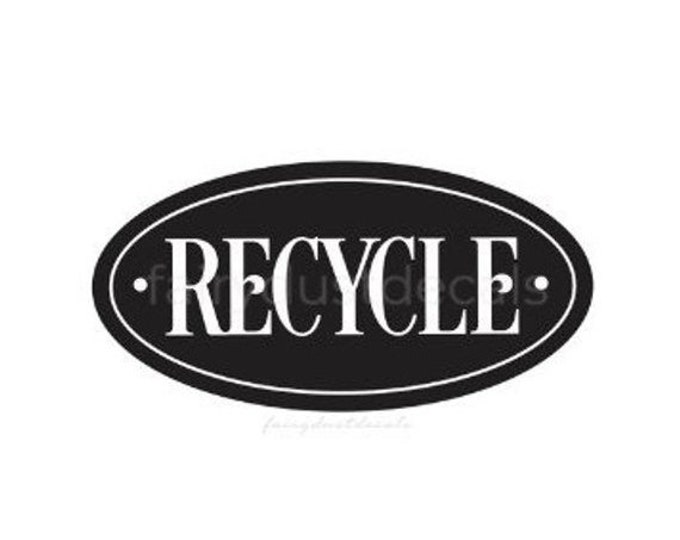 10% off sale Recycle Sticker for Trash Bin, Vinyl Decal, Recycling Label