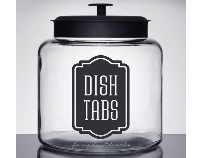 Dish Tabs Label for glass canister, dishwasher soap powder vinyl decal, farmhouse kitchen decor, dish tabs decal