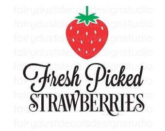 Fresh Picked Strawberries Decal, make your own sign, free shipping