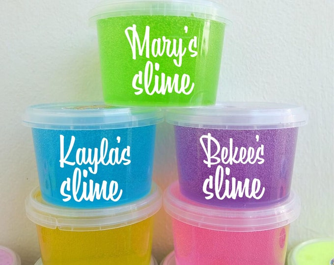 Personalized Slime Label for plastic container, slime name vinyl decal sticker, party favor