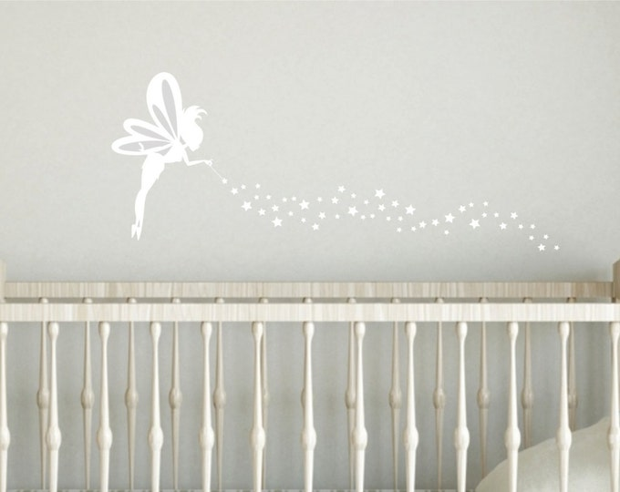 Fairy and Stars Decal, vinyl wall decal for girl bedroom, fairy with stars wall decal sticker