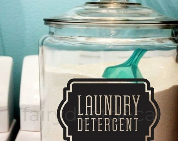 10% off sale Laundry Soap Decal, Laundry Detergent Canister Sticker, Laundry Room Decor, organize laundry or pantry room label