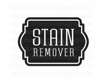 Laundry Stain Remover Decal, vinyl label for glass canister, laundry room organization, farmhouse laundry