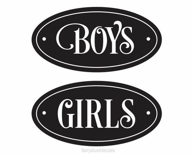Restroom Decal, Boys Room Decal, Girls Room Decal, Vinyl Sticker for Door, School bathroom door decals