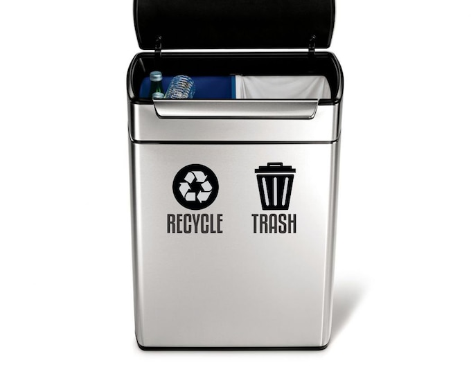 Recycle and Trash Sticker Set, vinyl decals