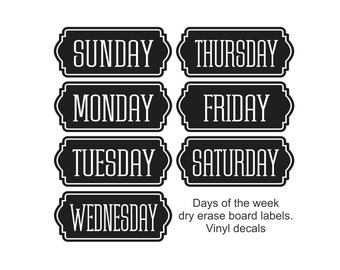 Days of the Week labels, weekly schedule, family command center, home organization, daily menu, sports schedule, homework whiteboard decals
