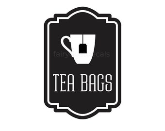 Tea Bags Canister Label, tea bags vinyl decal, kitchen organization, pantry decal