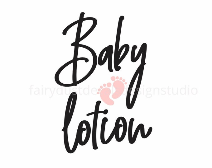 Baby Lotion Label for glass dispenser bottle, baby body lotion vinyl decal, new mom, baby shower gift