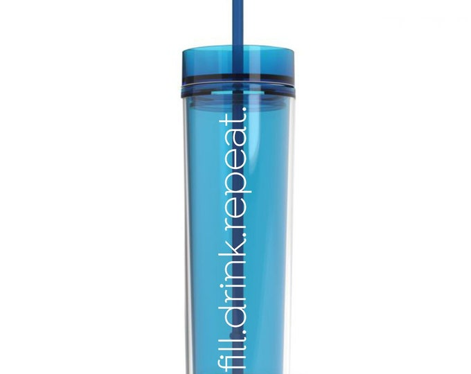 Blue Acrylic Plastic Skinny Tumbler with matching straw, 16 ounce water bottle, personalized drinkware for bridesmaids, CUP INCLUDED