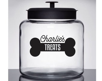 Dog Treats Decal, personalized pet name sticker for cookie jar