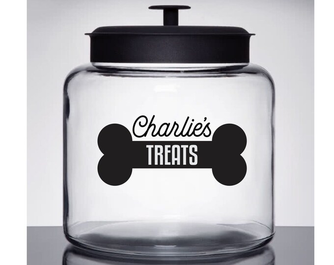 10% off SALE Dog Treats Decal, personalized pet name sticker for cookie jar