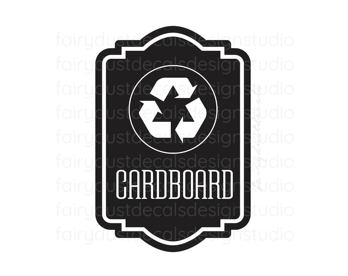 Recycle Cardboard Bin Sticker, recycling tote vinyl decal, environmental recycle symbol trash label, go green