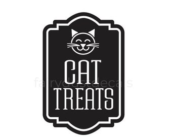 10% off sale Cat Treats Container Label Decal, Sticker for Cat Treats Canister, Cat Lover Home Decor