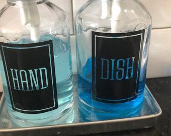 Hand Soap and Dish Soap dispenser bottle decals, set of 2 vinyl labels, square design