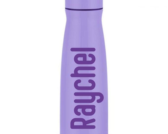 Lavender Purple Water Bottle, Stainless Steel with screw on lid, 17 ounces, light purple lavender metal drinkware, new in box