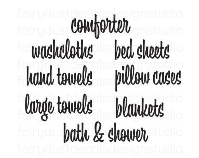 Linen Closet Storage Decals, Organize Linen Closet, Sheets Towels Blankets Pillowcases Vinyl Decals, declutter closet, storage organization