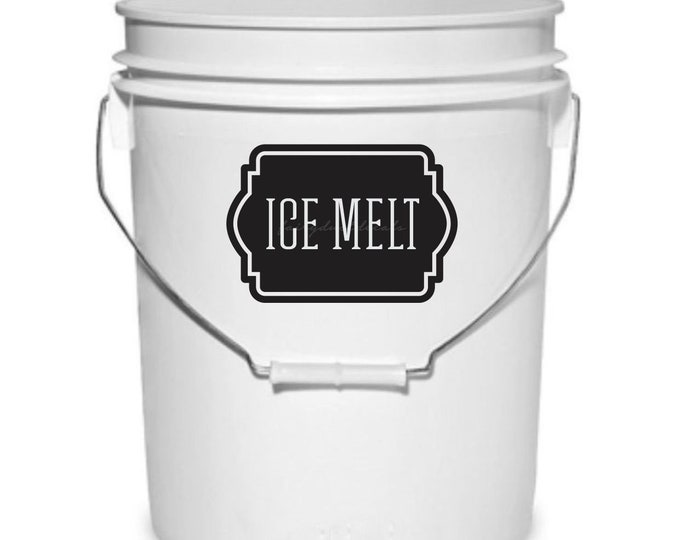 Ice Melt Bucket Decal, driveway ice melt vinyl sticker, label for 5 gallon plastic bucket, winter weather rock salt container label