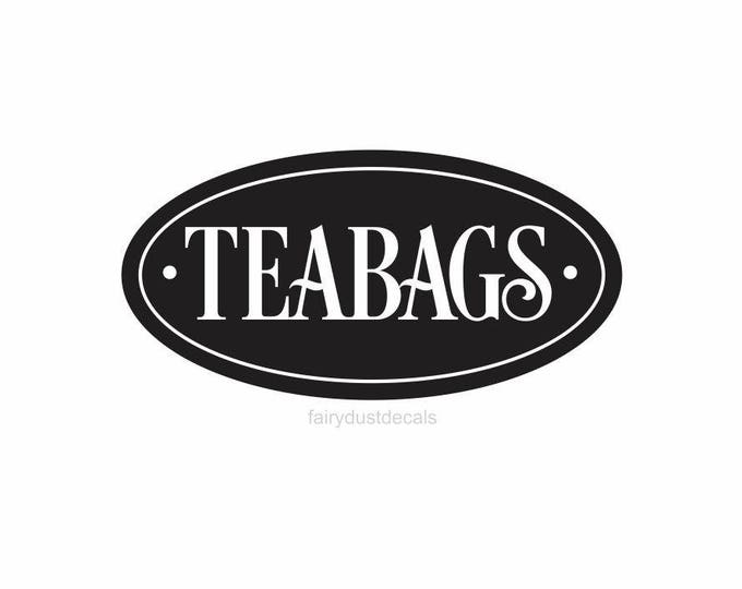 Teabags Canister Label, Kitchen Canister Set Sticker, tea bags vinyl decal