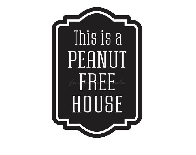 Peanut Free House Decal, peanut allergy decal, nut free home decal, food allergy warning, peanut allergy vinyl decal for windows and doors