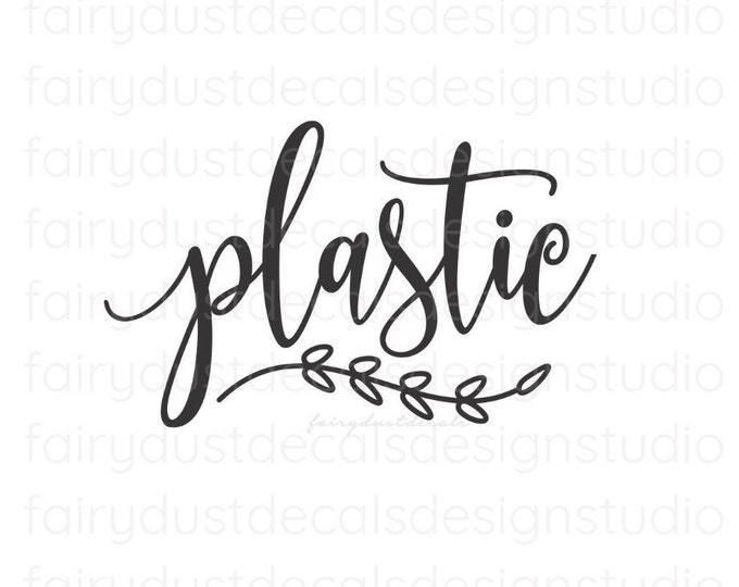 Recycling Plastic Decal, Recycle Tote Label Decal, Trash Barrel Vinyl Sticker, Kitchen Trash Can Decal, Plastic Decal
