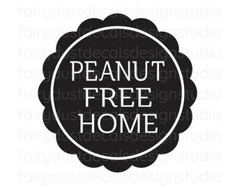 Peanut Free Home Decal, Nut Allergy Warning Sticker, no peanuts vinyl decal, nut allergy label, no nuts, peanut free home window label