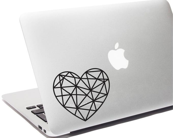 Heart Decal Geometic Design Heart Sticker Valentines Day Love Vinyl Wall Decal Laptop Sticker Polygon February 14th Bedroom Wall Decoration